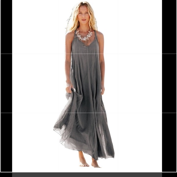 3b830a2e11 Garnet Hill Dresses & Skirts - GARNET HILL Pewter Cotton Gauze Maxi Dress